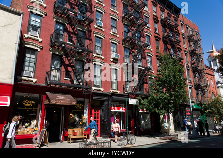 Christopher Street in Greenwich Village, New York City, America, USA - Stock Photo