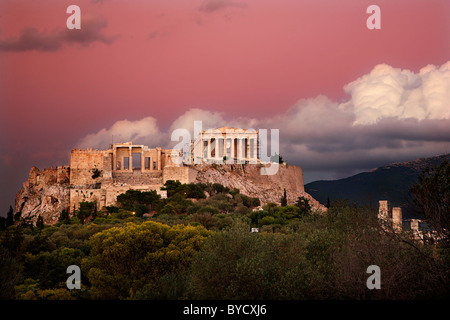 The Parthenon and the Propylaea of the Acropolis under the African dust on a late evening take. Greece, Athens - Stock Photo