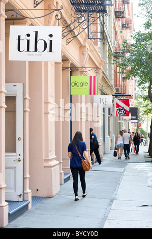 Designer clothes shops in Wooster Street, SoHo, New York City, USA - Stock Photo
