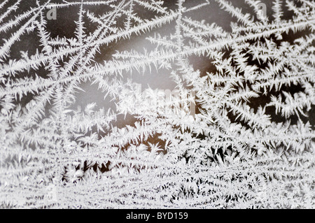 frozen ice crystals on a window - Stock Photo