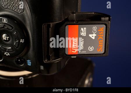 SD memory card and a digital camera - Stock Photo
