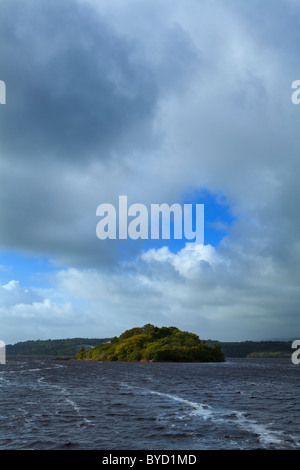 The Isle of Inishfree on Lough Gill, From a Poem by W.B. Yeats in 1888, Lough Gill, County Sligo, Ireland - Stock Photo