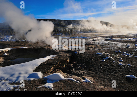 Steam rising from vents at Norris Geyser Basin. Yellowstone National Park, Wyoming, USA. - Stock Photo