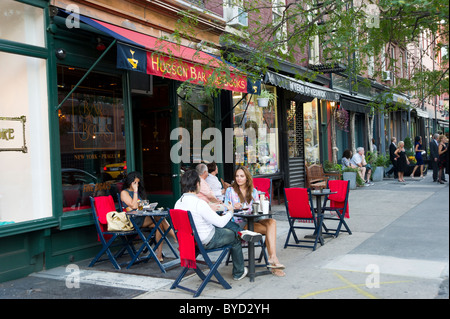 Bar and Books on Hudson Street in Greenwich Village, New York City, America, USA - Stock Photo