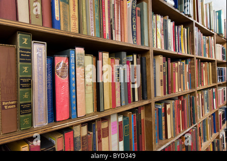 Bookshelves in the Strand Bookstore on Broadway, New York City, USA - Stock Photo