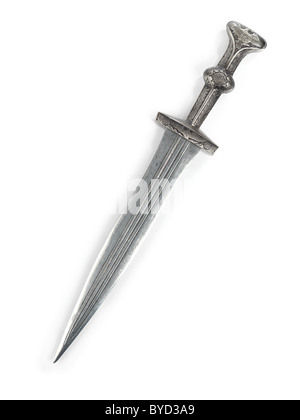 Antique Roman dagger short sword isolated on white background - Stock Photo