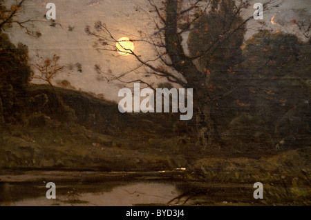 Detail: Moonrise, 1885, by Henri-Joseph Harpignies - Stock Photo