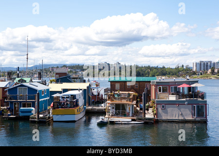 Floating houses at Fisherman's Wharf in Victoria, BC, Canada. - Stock Photo