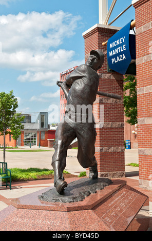 Oklahoma, Oklahoma City, AT&T Bricktown Ballpark, Mickey Mantle Plaza - Stock Photo
