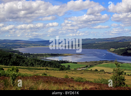 UK Scotland Highland Sutherland Dornoch Firth from the Struie Hill - Stock Photo