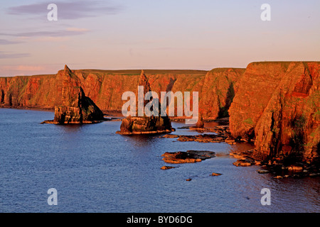 UK Scotland Highland Caithness The Stacks of Duncansby - Stock Photo