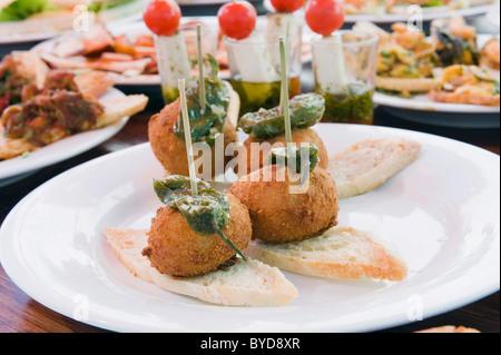 Tapas, Spanish food, Teguise, Lanzarote, Canary Islands, Spain, Europe - Stock Photo