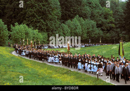 Costumed pilgrimage from Siegsdorf to Maria Eck, Chiemgau, Upper Bavaria, Bavaria, Germany, Europe - Stock Photo