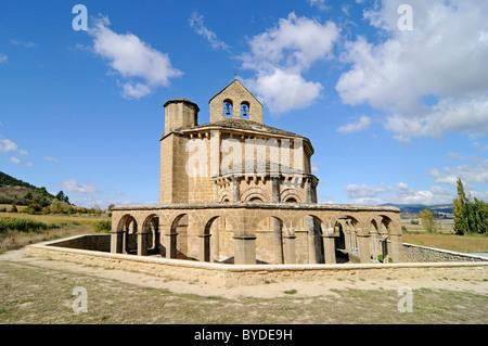 Romanesque church Santa Maria de Eunate, Camino de Santiago or the Way of St James, Muruzabel, Pamplona, Navarra, - Stock Photo