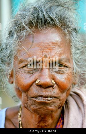 Tamil woman, portrait, Bharathi Road, Pondicherry, Puducherry, French Quarter, Tamil Nadu, India, Asia - Stock Photo