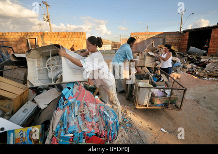 Garbage collectors provide recyclables at the social project for ex-prisoners 'Reintegar Reciclando' - Stock Photo