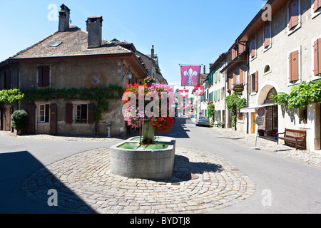 Historic town centre of Saint-Prex, canton of Vaud, Switzerland, Europe - Stock Photo