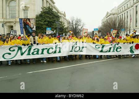 Pro Life activists take part in the 34th March For Life, on Capital Hill Washington DC, USA - 22.01.07 - Stock Photo