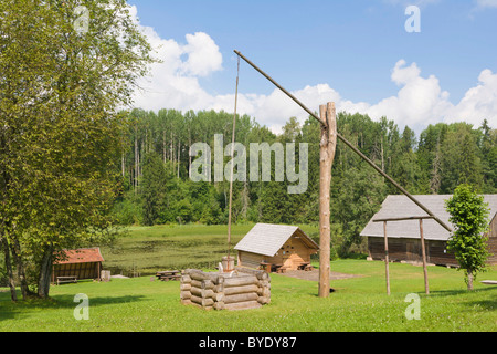 Well, Viktora Kirpa Ates museum, Ate, Annas Parish, Aluksne municipality, Latvia, Northern Europe - Stock Photo
