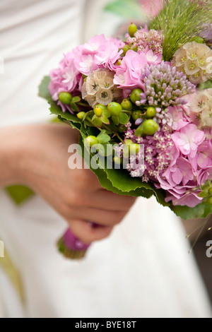 Bridal flowers, bridal bouquet, starflower pincushions (Scabiosa stellata), bigleaf hydrangea (Hydrangea macrophylla), - Stock Photo