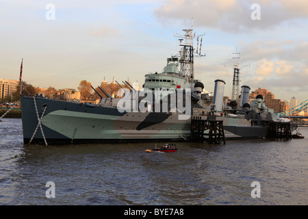 HMS Belfast, light cruiser of the Royal Navy, River Thames, London, England, UK, Europe - Stock Photo