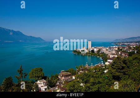 View of Montreux on Lake Geneva, Montreux, Canton Vaud, Switzerland, Europe - Stock Photo