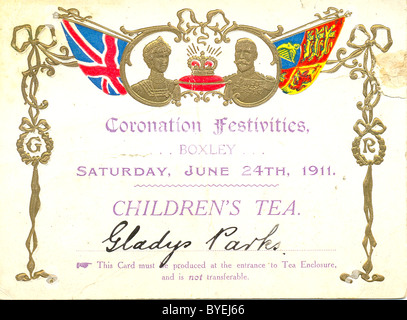 Ticket  for Children's Tea to celebrate the Coronation of King George V and Queen Mary - Stock Photo