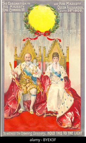Hold to light advertising souvenir of Coronation of King Edward VII - Stock Photo