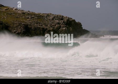 Waves crashing on Dalmore or Dail Beag beach, Isle of Lewis, Outer Hebrides, Scotland, UK - Stock Photo