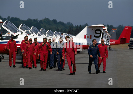 Canadian Forces Snowbirds on Display, Abbotsford International Airshow, BC, British Columbia, Canada, Snowbird Pilots - Stock Photo
