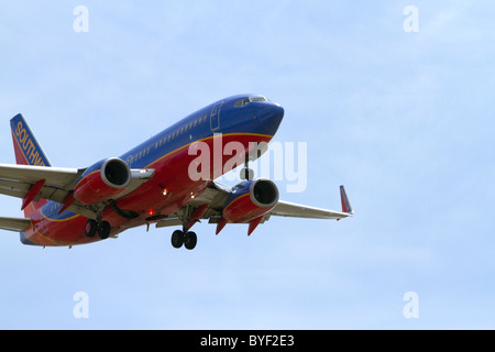 Southwest airlines Boeing 737 aircraft on final approach to the Boise Airport, Idaho, USA. - Stock Photo