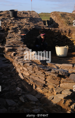 Archaeological excavation ' Castro of  CABO BLANCO '  ( Atlantic Bronze Age ) Asturias. Council of  El Franco. SPAIN - Stock Photo