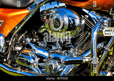 harley davidson,motorbike,detail,shiny,silver,clean,gleaming,new,polish,bike - Stock Photo