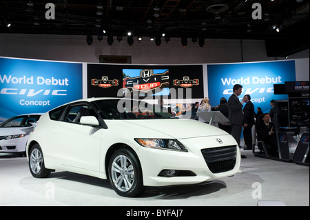 Honda CR-Z hybrid car at the 2011 North American Auto Show in Detroit - Stock Photo