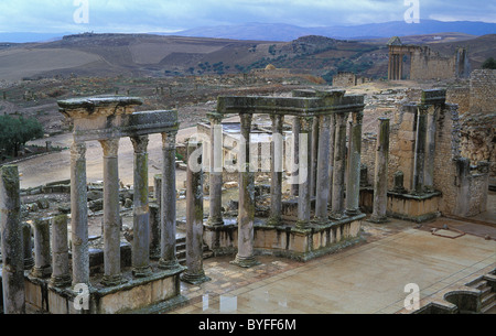The ancient Roman town of Dougga in Tunisia, one of the best preserved sites from the Roman era - Stock Photo