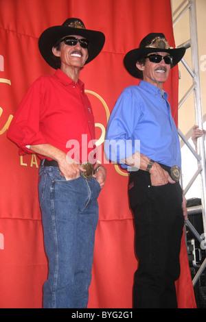 Wax Figure (Left), Richard Petty Madame Tussauds Las Vegas unveiled wax figures of NASCAR Stars Richard Petty and - Stock Photo