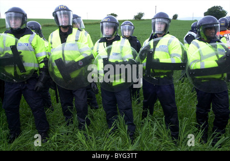 A row of Police Officers in Riot Gear at G8 Summit Demonstration held at Gleneagles Hotel in Auchterarder Stock Photo