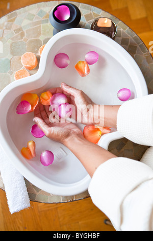 Close up of hands in bowl with rose petals - Stock Photo