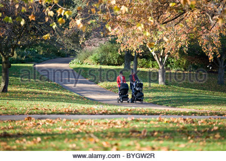 Two mothers pushing their buggies in the park - Stock Photo