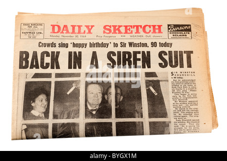 Old newspaper the Daily Sketch from Monday 30th November 1964 celebrating Sir Winston Churchill's 90th birthday. - Stock Photo
