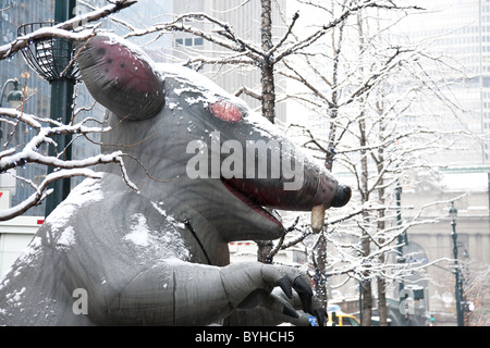 Inflatable Giant Rat at Union Demonstration, NYC - Stock Photo