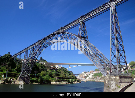 Ponte de Dona Maria Pia designed by Gustav Eiffel in Porto Portugal - Stock Photo