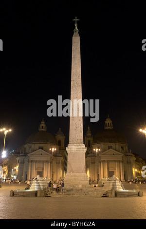 Piazza del Popolo, obelisco Flaminio and churches by night from north (...) - Stock Photo