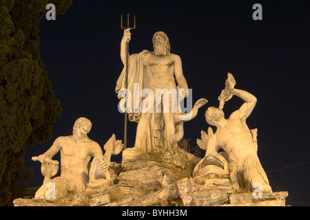 Central group on western fountain in Piazza del Popolo (...) - Stock Photo
