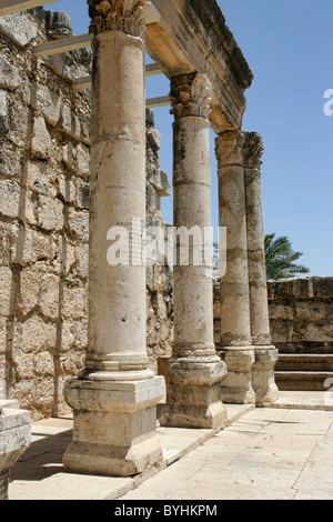 The ruins of a Byzantine era Basilica stands in Capernaum, Israel where Jesus preached during his time in Galilee. - Stock Photo