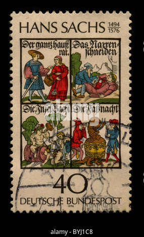 GERMANY-CIRCA 1976:A stamp printed in GERMANY shows image of the Hans Sachs (5 November 1494 - 19 January 1576) - Stock Photo
