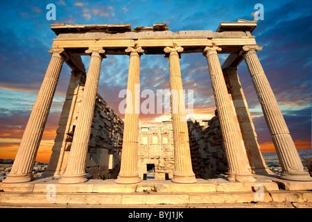 The Erechtheum Temple, the Acropolis of Athens in Greece. - Stock Photo