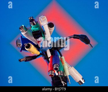 a bundle of electronic connectors - Stock Photo