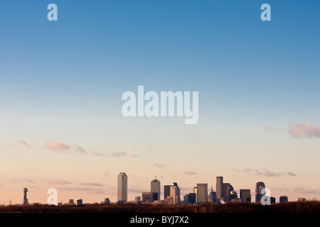 Wide angle view of Dallas, Texas skyline from the south at the I-45 Interstate bridge over the Trinity River in - Stock Photo