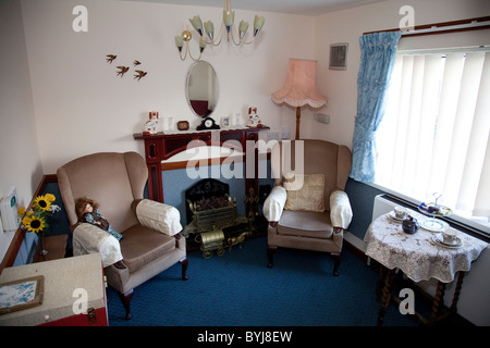 A reminiscence room set in the 1960's at an elderly nursing care home England UK - Stock Photo